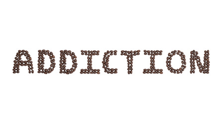 The word Addiction written with Coffee Beans