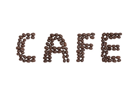 cns: The word Cafe written with Coffee Beans Stock Photo