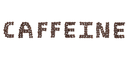 cns: The word Caffeine written with Coffee Beans Stock Photo