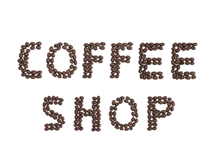 cns: The words Coffee Shop written with Coffee Beans