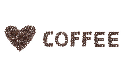 The word Coffee written with Coffee Beans and a love heart to the side Stock Photo