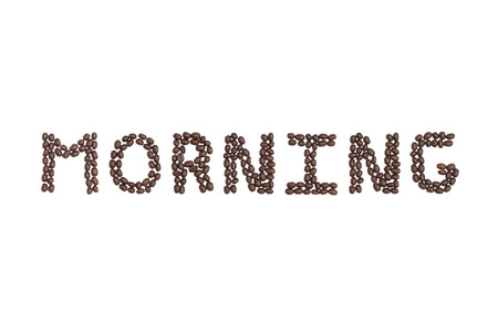 The word Morning written with Coffee Beans