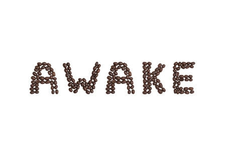 cns: The word AWAKE written with coffee beans