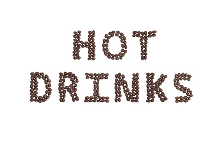 cns: The words HOT DRINKS written with coffee beans