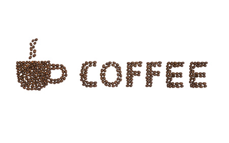 cns: A coffee cup and the word coffee written with coffee beans