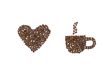 cns: A love heart and coffee cup written in coffee beans
