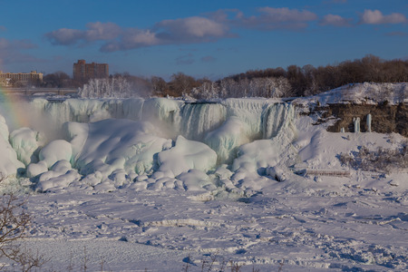american falls: American Falls in the Winter showing snow and ice Stock Photo
