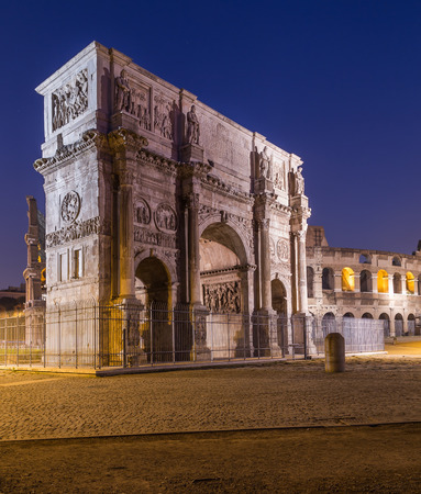constantine: The Arch of Constantine near the Colosseum at night
