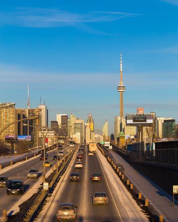 amounts: TORONTO, CANADA - 20 FEBRUARY 2015: Toronto and the Gardiner Expressway showing large amounts of traffic