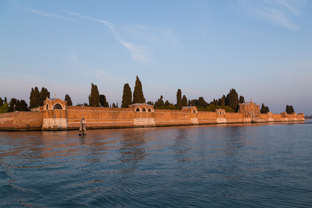 cemetry: Walls of Isola di San Michele in Venice which acts as the city cemetry