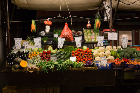 VENICE, ITALY - 14TH MARCH 2015: Fresh vegetables on display at a market stall in Venice