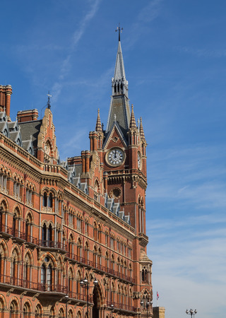 LONDON, UK - 7TH MARCH 2015: A view of the outside of Kings Cross St Pancras Station showing the architecture design.