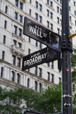 street signs: Wall Street and Broadway Street Signs in color