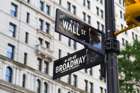 street signs: NEW YORK CITY, USA - 1ST SEPTEMBER 2014: Wall Street and Broadway Street Signs in color