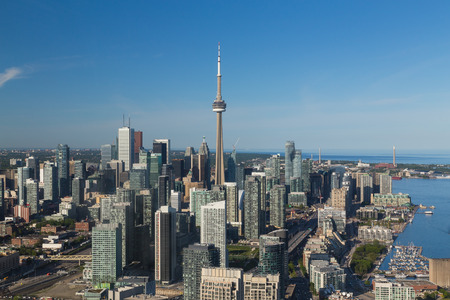 building cn tower: A view of buildings in downtown Toronto during the day viewed from the air