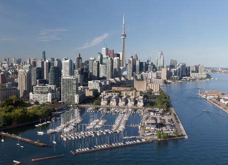 A view of buildings in downtown Toronto viewed from the air 写真素材
