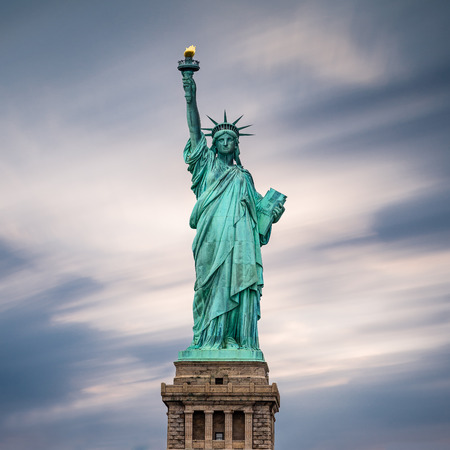 liberty torch: The Statue of Liberty in New York City, USA. Color image. Stock Photo