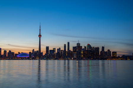 building cn tower: The Toronto Skyline during the blue hour showing much of the downtown core buildings Stock Photo