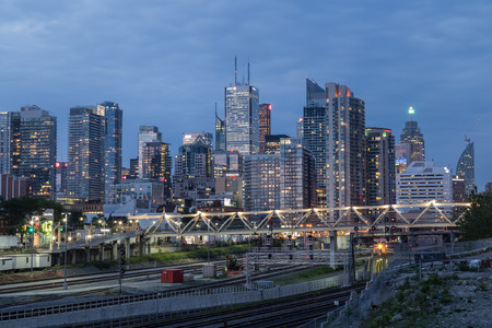 the central bank: TORONTO, CANADA - 25TH JUNE 2015: A view of Toronto Downtown during the blue hour showing lots of offices and buildings