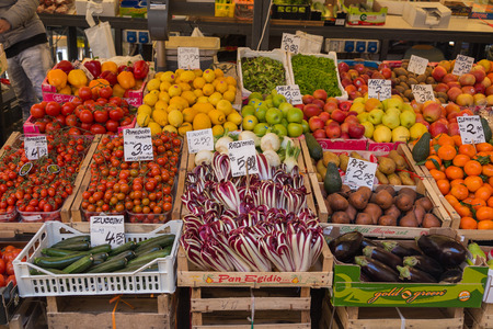 common market: VENICE, ITALY - 14TH MARCH 2015: Fresh fruit and vegetables at a market stall in Venice.