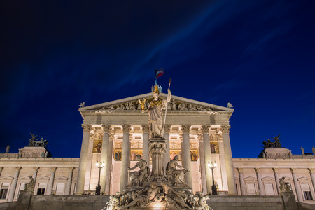 innere: The outside of the front of the Austrian Parliament Building at night