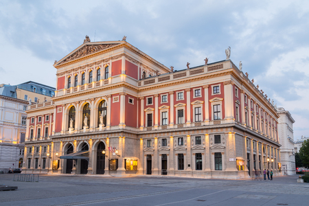 venue: VIENNA, AUSTRIA - 22ND AUGUST 2015: The outside of the Wiener Musikverein venue in Vienna during the early evening.