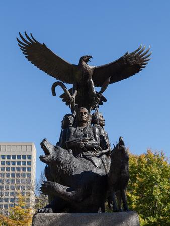 confederation: OTTAWA, CANADA - 12TH OCTOBER 2014: A war veteran memorial in Canada towards the entrance of confederation park