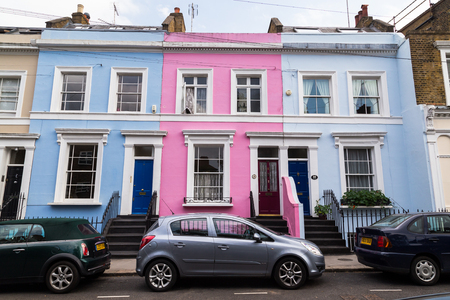 notting hill: LONDON, UK - 16TH JULY 2015: Buildings in Notting Hill, London, during the day, showing the colorful style of the buildings Editorial