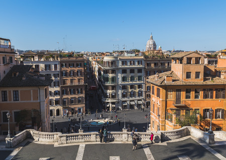 spanish steps: ROME, ITALY - 12TH MARCH 2015: A view down the Spanish Steps in Rome during the day showing buildings and people. Editorial