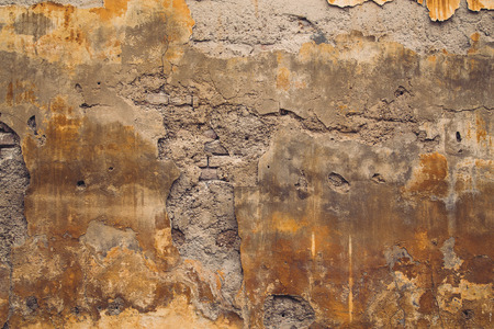 Old crumbling wall in Europe background with copyspace Stock Photo