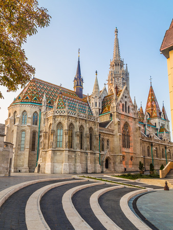 halaszbastya: The outside of Matthias Church in Budapest Hungary during the day shownig the gothic architecture. Editoriali