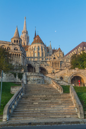 matthias church: Part of Fishermans Bastion and Matthias Church in Budapest during the day Editorial
