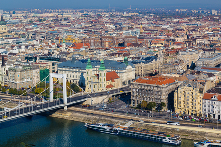 elisabeth: BUDAPEST, HUNGARY - 30TH OCTOBER 2015: High angle view of buildings in Budapest near the Elisabeth Bridge during the day. Editorial