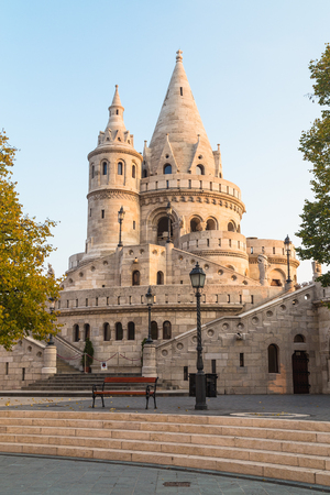 31st: BUDAPEST, HUNGARY - 31ST OCTOBER 2015: The outside of one of the towers at Fishermans Bastion in Budapest in the morning.