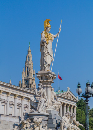 pallas: The Goddess Athena statue at the top of the Pallas Athene Fountain outside the Austrian Parliament in Vienna