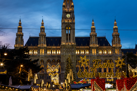 christkindlmarkt: VIENNA, AUSTRIA - 15TH NOVEMBER 2015: Closeup to the outside of Christmas Market at Rathaus (Vienna City Hall).