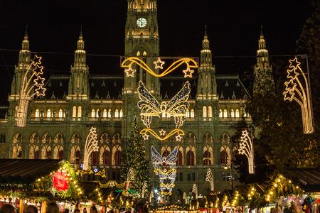 market hall: VIENNA, AUSTRIA - 17TH NOVEMBER 2015: Stalls at the Christmas Market at Rathaus in Vienna at Christmas