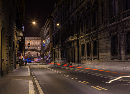 altar of fatherland: ROME, ITALY - 11TH MARCH 2015: A view along Via del Corso towards the Altar of the Fatherland  monument at night. Editorial