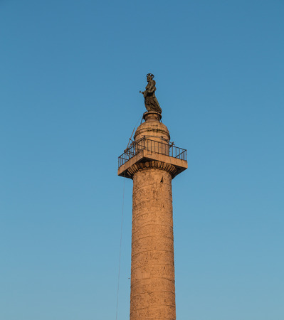 low angle view: ROME, ITALY - 11TH MARCH 2015: Low angle view of the Trajans Column in  Rome during the day Editorial