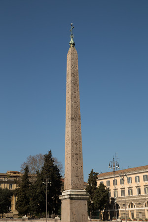 heliopolis: The Ramesses II from Heliopolis obelisk at Piazza del Popolo in Rome during the day