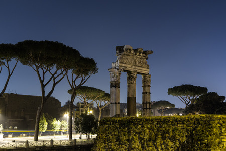 roman pillar: Ruins in Rome at night near Capitoline Hill. There is space for text.