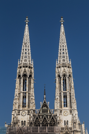 innere: Low angle view of the towers on the Votive Church in Vienna