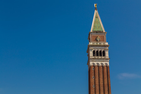 campanile: The  Campanile Tower in the San Marco District of Venice during the day. There is space for text Stock Photo