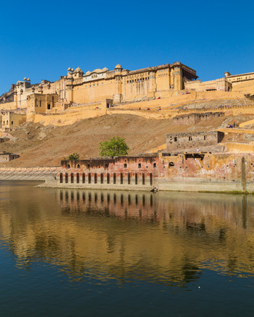 amber fort: JAIPUR, INDIA - 22ND MARCH 2016: The outside of the Amber Fort in Jaipur, Rajasthan, India.