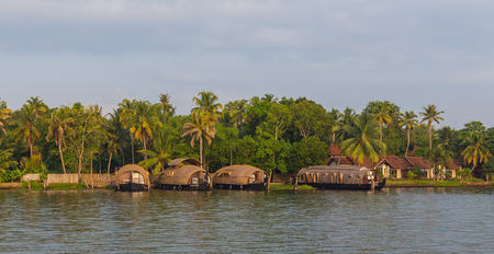 backwaters: KERALA BACKWATERS, INDIA - 2ND APRIL 2016: Traditional houseboats in the Kerala backwaters of south India during the day.
