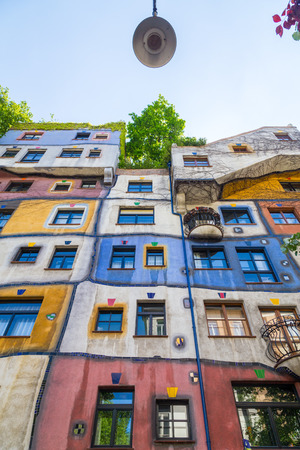 low angle: VIENNA, AUSTRIA - 8TH MAY 2016: Low angle view of Hundertwasserhaus during the day in the summer. Editorial