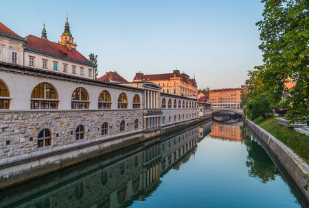 central market: LJUBLJANA, SLOVENIA - 27TH MAY 2016: The outside of  Ljubljana Central Market along the river in the morning. Reflections can be seen in the water