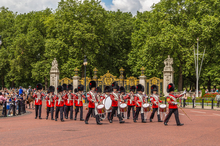 buckingham palace: LONDON, UK - 28TH JUNE 2016:  Musicians at the Changing of the Guard Performance at Buckingham Palace in the summer.