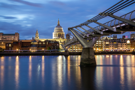 st   pauls cathedral: LONDON, UK - 27TH JUNE 2016: St Pauls Cathedral and Millenium Bridge at night