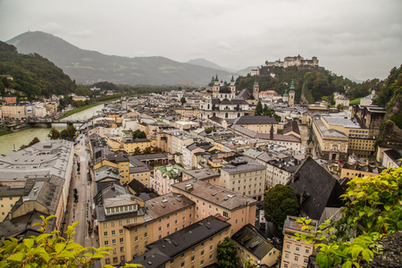 high view: A high view of buildings in Salzburg Austria during an overcast day.